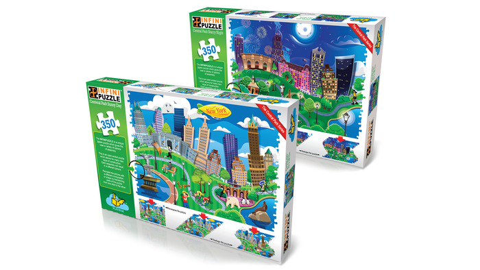 Both puzzles can join together to compose one large 700 piece puzzle