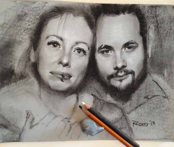 """Caz and Ian"" 9x12in sketch, black and white charcoal on toned paper"