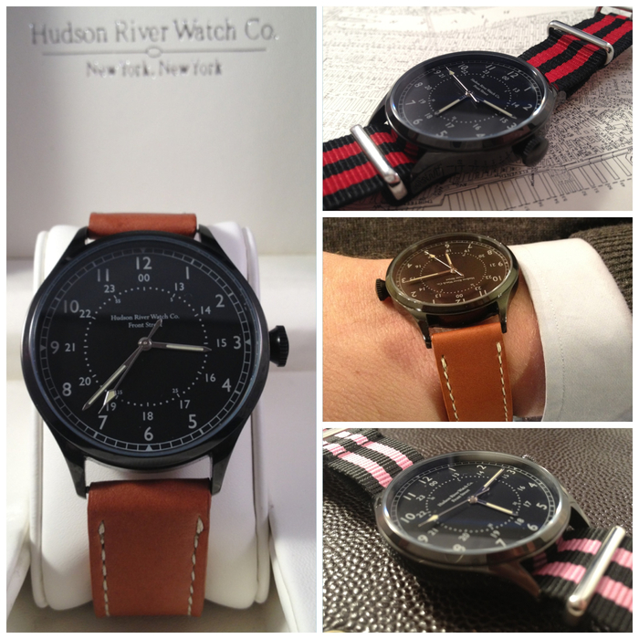 """Front Street"" (Black) - Comes with brown leather strap pictured on left. [41mm case diameter, 20mm strap size]"