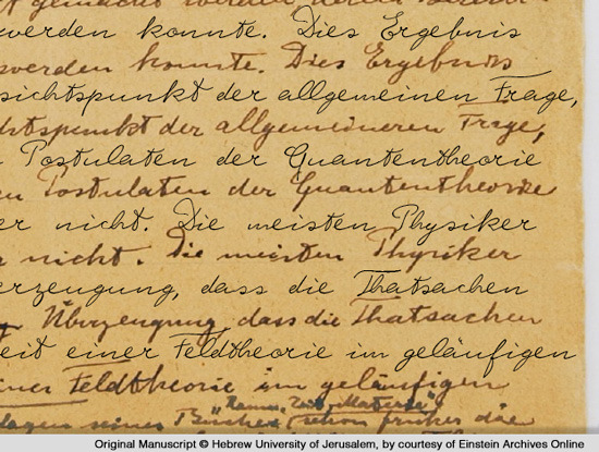 Specimen of Albert Einstein's handwriting layered with the digital font (black)