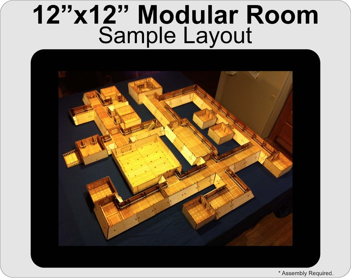 "This sample layout adds the 12""x12"" Modular Room Bundle to a Level 3 pledge, slightly modified with 5 Corridor Side Room sections instead of the included 3 Corridor Side and 3 Corridor Two Side Room sections."