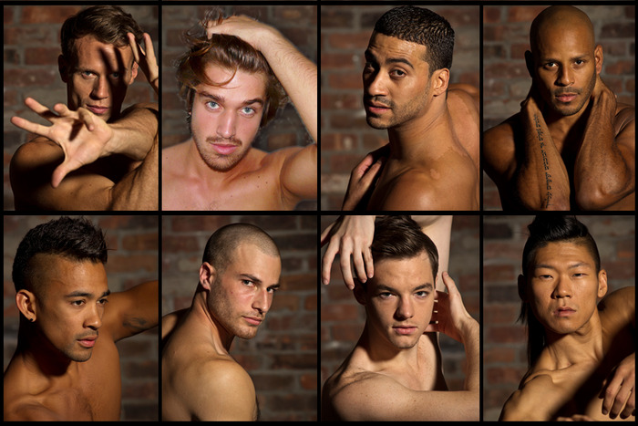 Men of Cedar Lake Contemporary Ballet - clockwise from top left: Jason Kittelberger, Guillaume Quéau, Nikemil Concepcion, Joaquim de Santana, Jon Bond, Joseph Kudra, Billy Bell & Matthew Rich. Photos by Paula Lobo.