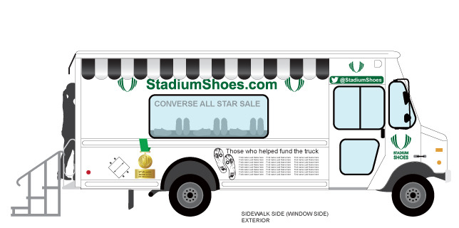 A side view rendering of the mobile shoe store concept. Names of supporters who helped fund the truck would appear on the exterior graphics of the truck.