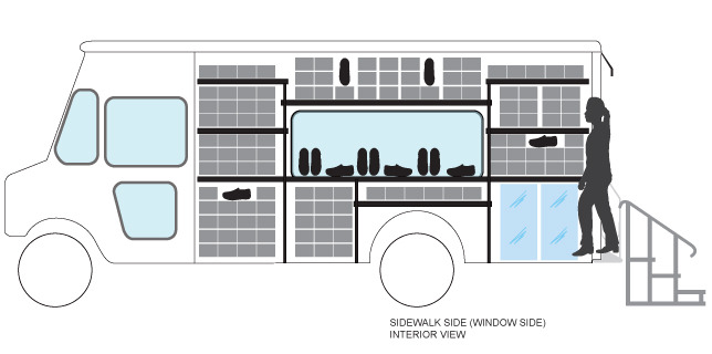 An interior sketch of the Stadium Shoes truck, a mobile footwear boutique.