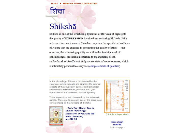 Excerpt from Shiksha page on vedicreserve website