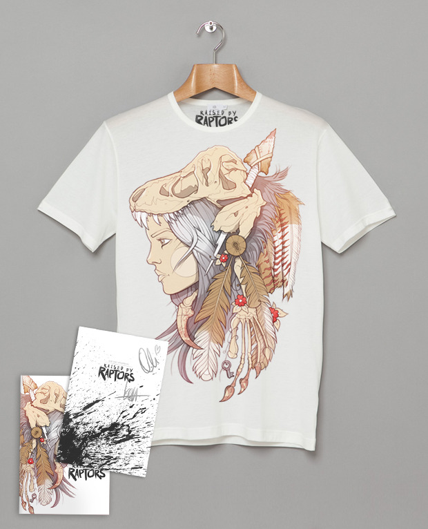 SIGNED TEE PACK You will receive a copy of Raised by Raptors Issue No.1 - First Edition with Insert Signed by Oli & Ben + RBR Tee + Poster + the Backgrounds Pack + the PDF Pack + Behind the Scenes Pack.