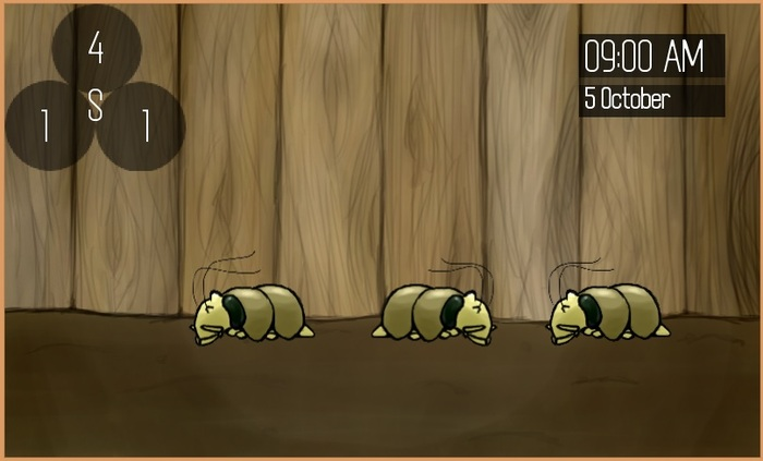 Screenshot of the prototype, trying out the concept of three monsters on screen at once.