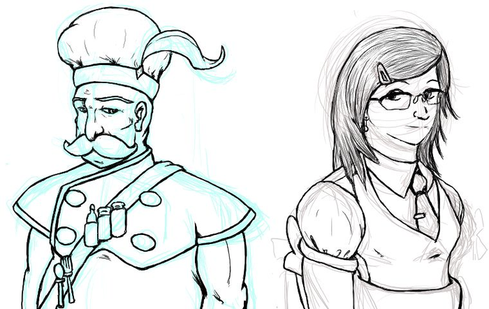 Some final character concept sketches for the chef of the town's restaurant and the player character's sister.