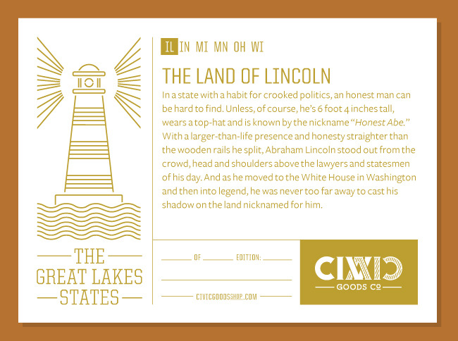 Poster Label for Illinois - The Land of Lincoln
