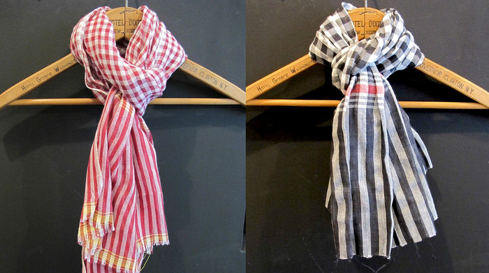 Khmer scarf in Red or Black check. 100% cotton. Hand woven in Vietnam.