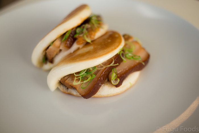 Grilled steamed bun stuffed with tender pork belly