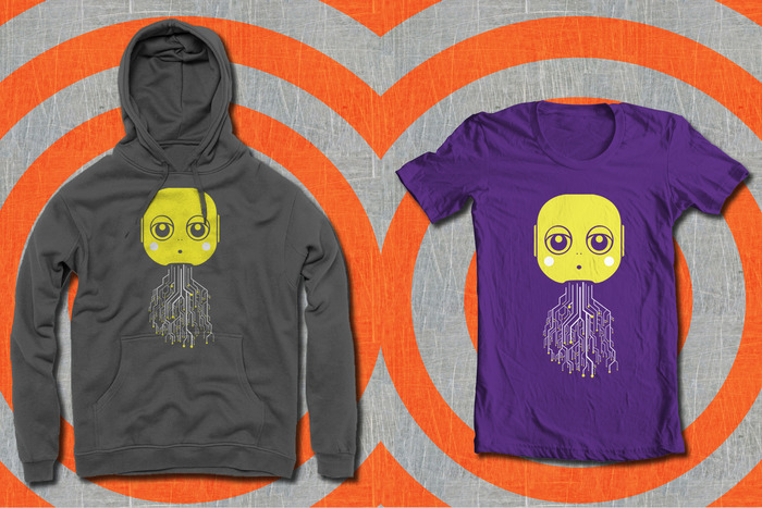 Maki Circuit Design on American Apparel (Asphalt) Pullover Hoodie and (Plum) T-shirt
