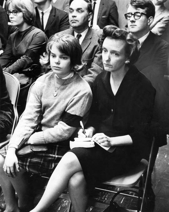 My mom and I at a Des Moines, Iowa, school board meeting in 1965.