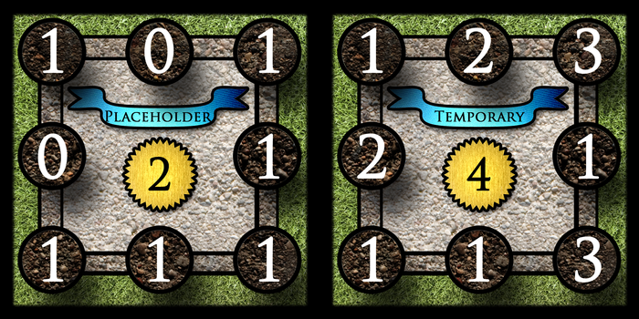 Castle cards with temporary placeholder names, Before the Art Overhaul