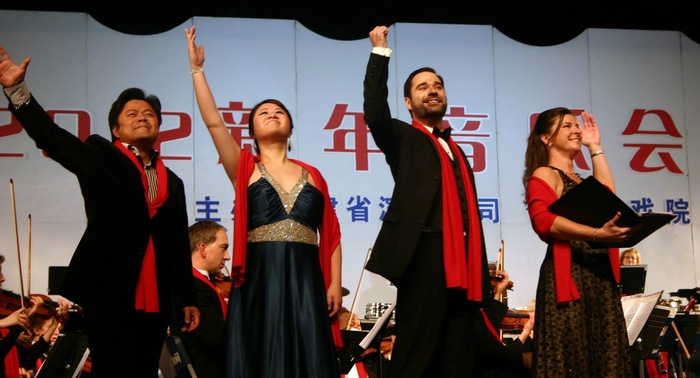 "SSO and soloists after a performance of ""The Song of the Yangtze River"""