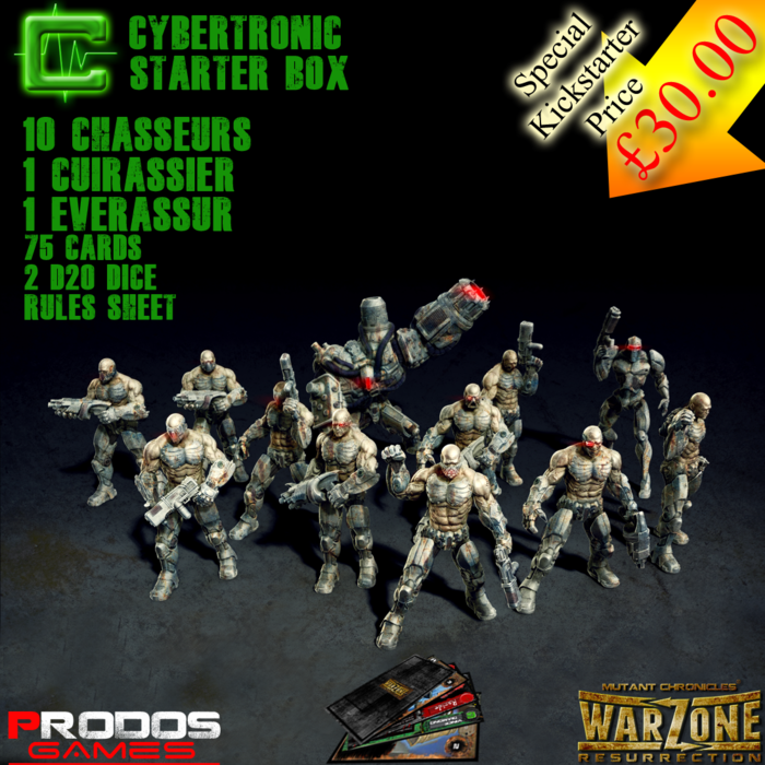 Cybertronic Starter Set. (The basic troops are 28mm, the Cuirassier is 37mm and the Everassur, (the hero) 55mm)