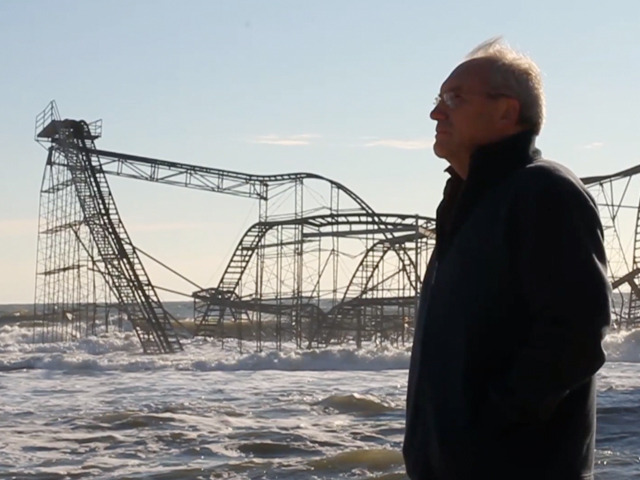 Greg Mesanko at Casino Pier after the storm