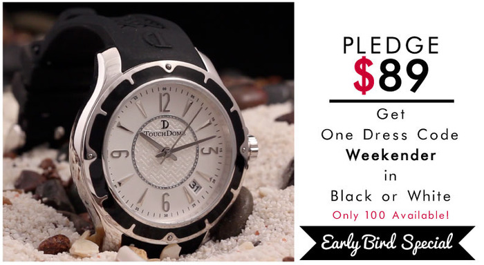 Pictured: Weekender in black with white face. EARLY BACKER SPECIAL: Black or White (not shown).