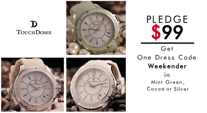Pictured: Weekender watch in three colors: Mint Green, Cocoa or Silver.
