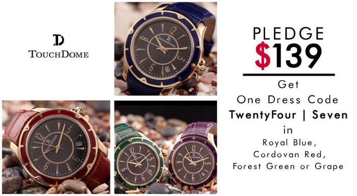 Pictured: TwentyFour | Sevenwatch in four additional colors: Royal Blue, Cordovan Red, Forest Green or Grape.