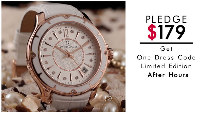 Pictured: LIMITED EDITION: After Hours watch with white leather strap. Limit 500.