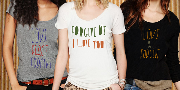 "Three ""Love and Forgiveness"" T-shirts, as if Casey drew them, designed by Nicola Rowlands."