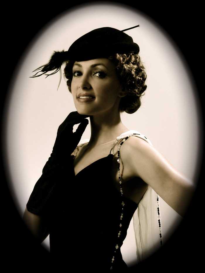 Publicity still of the lovely Adelade Finch, star of the first serial.