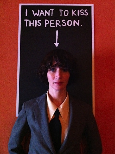 "I Want to Kiss This Person by Miranda July (Miranda July not included)! Silkscreen, 20""x30"", edition of 230."