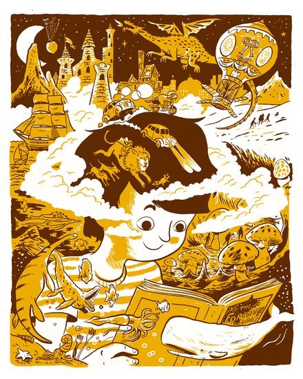 "No Book Ever Ends by Aaron Renier! 2-color silkscreen, 16""x20"", signed and numbered, edition of 250. SOLD OUT!"