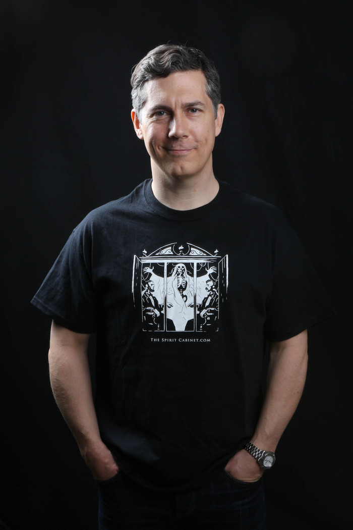 The Original SPIRIT CABINET FILMS T-Shirt (Designed by Mike Mignola), modeled by Mr. Chris Parnell (SNL,30 Rock, Anchorman).