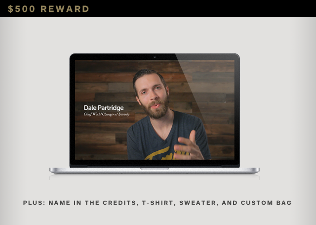 "Custom Thank You Video from our CEO, Skype call with the Sevenly Team, Give Collection Canvas + Leather Craftsman Duffle Bag, Name in the Official Credits, ""Broadcast Love"" Hooded Sweatshirt, ""Change Your Reality"" Print, ""Broadcast Love"" Shirt, and Custom"