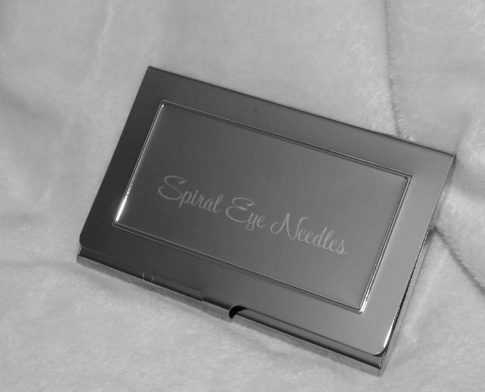A beautiful, engraved needle case (ready for you to add needles of your choice)