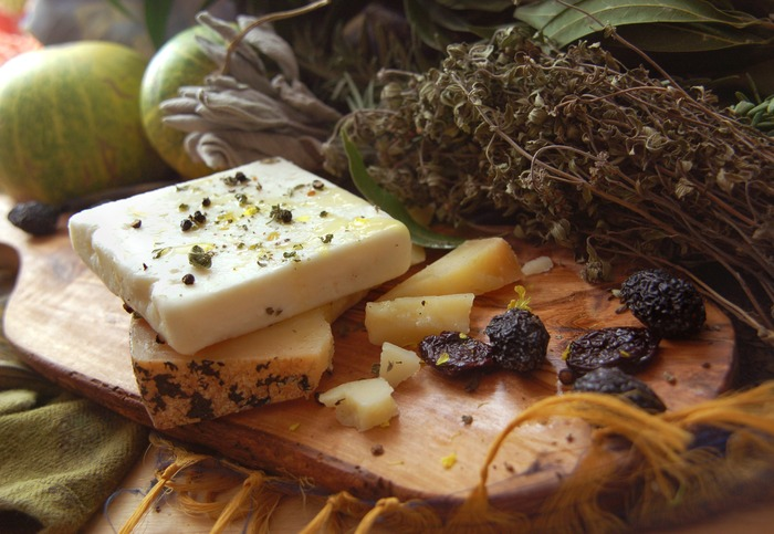 Aged raw pecorino cheese, raw goat milk feta & raw, dried Botija olives