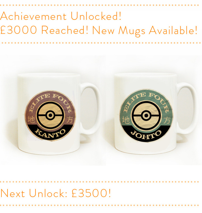 From left - Kanto Elite Four mug - Johto Elite Four mug