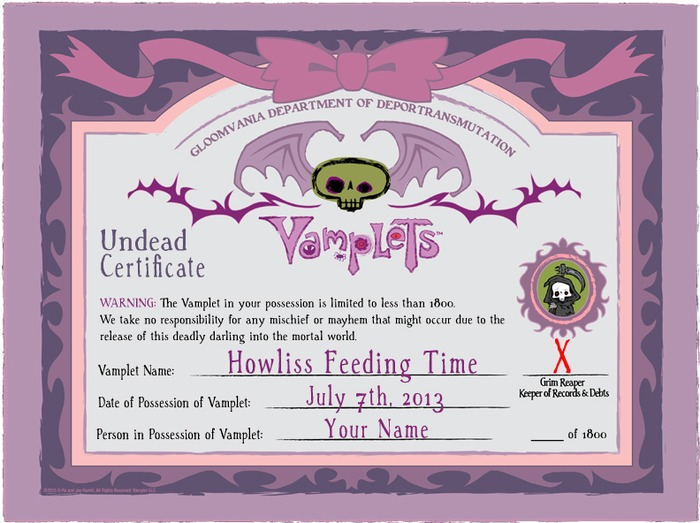 Hand Numbered Official Undead Certificate