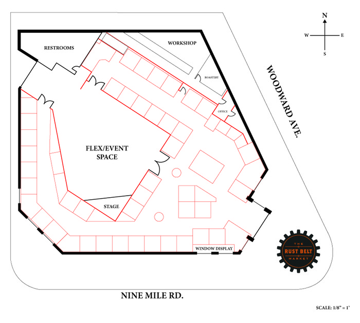 Our new layout!  The red boxes represents vendor spaces.  The new event space will consume 4000sq ft of our 15,000.