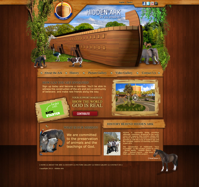 Our homepage Hidden Ark