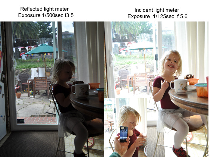 Sample pictures using an in-camera light meter (L) and using Luxi (R)