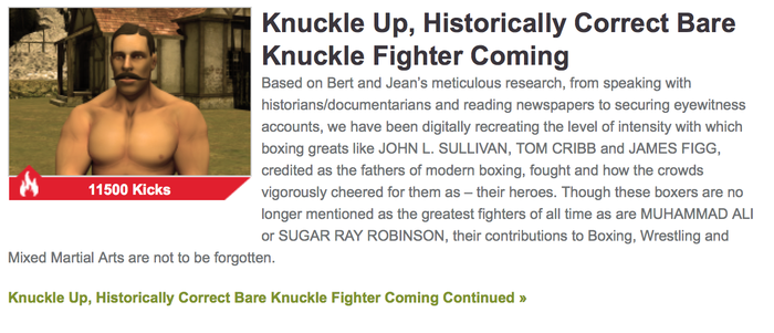 "Gamekicker ""Oldetime Knuckle Up, Historically Correct Bare Knuckle Fighter Coming"" Article"