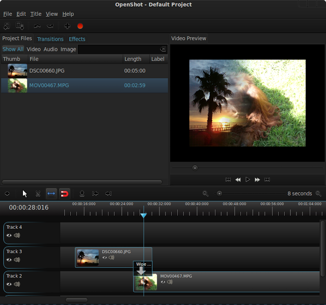 Main window in OpenShot, using our new theme: holo.