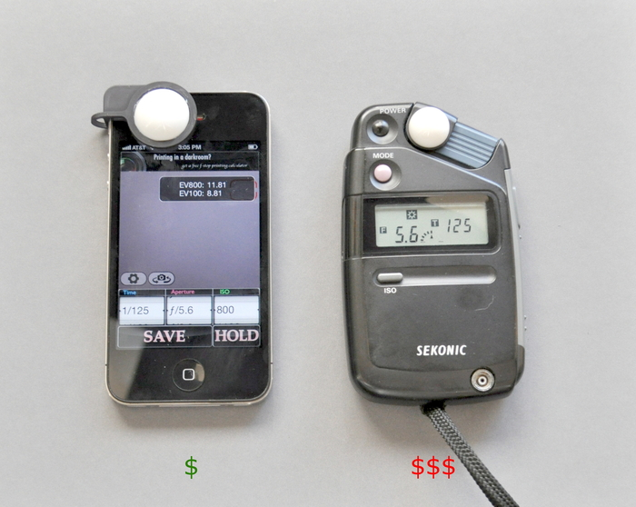 Light reading results of Luxi (L) and Sekonic L-308 (R) for price/performance comparison. Look at a Sekonic i-346 or other non-flash meter for direct product comparison.