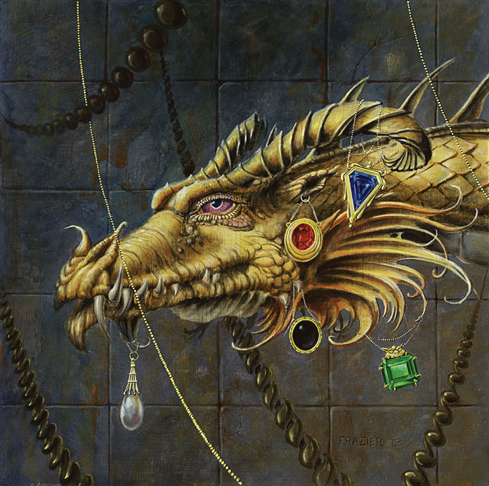 Dan Frazier - Golden Mox Dragon (Oil on masonite)