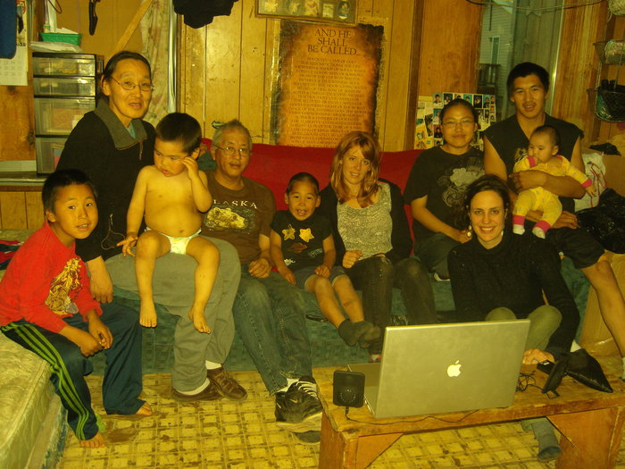 Director Gina Abatemarco & DP Zoe White with the Hawley Family, Kivalina 2009