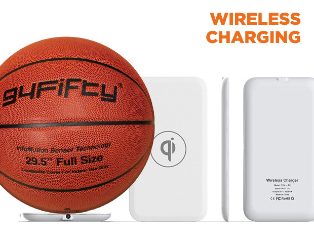 Wirelessly charge the ball with a 94Fifty Qi charging pad.  Place the ball on the pad and Qi does the rest.