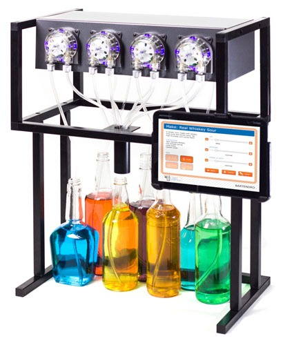 Bartendro 7 comes with 7 dispensers, a router board, Raspberry Pi with USB WiFi dongle, power supply and frame. Tablet and mount not included. Some light assembly may be required.