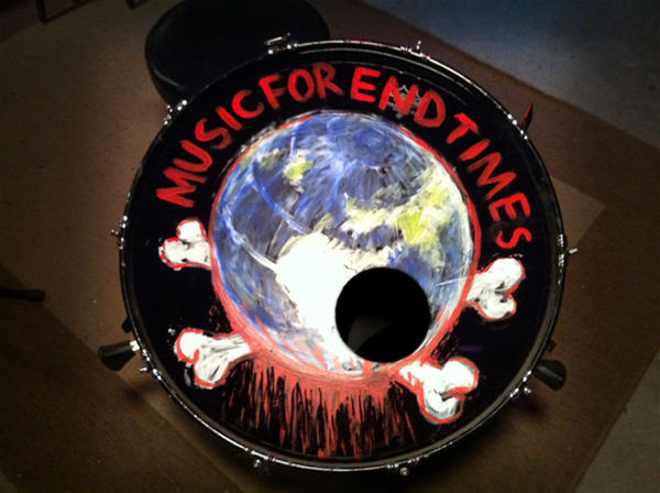 One-of-a-kind relics like this bass drum head are up for grabs.