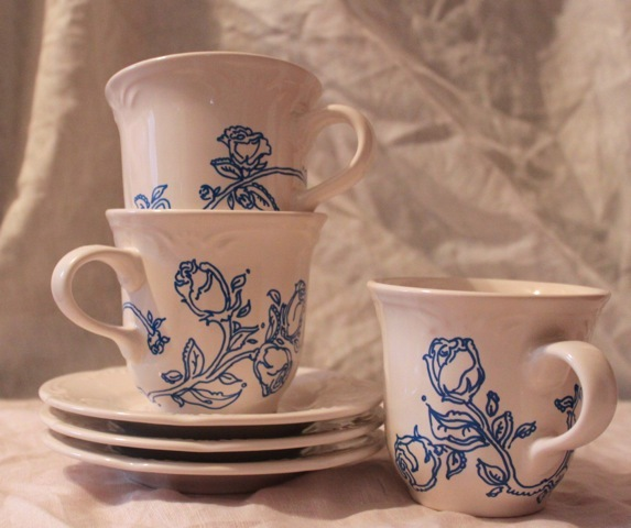 (revamped vintage mugs/saucers)