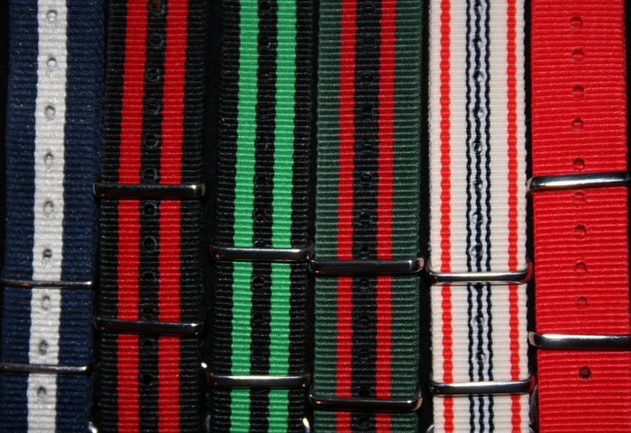 Nato Strap Options (All watches comes with leather bands- except Milligan which comes with stainless steel, and Fulton which comes with black rubber). These straps pictured are options for additional straps and are featured in many of our photos.