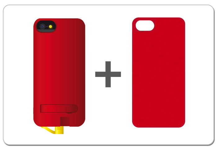 Combination Example - You could choose a Red/Yellow NuCharge + Red Leather Smart Cover!