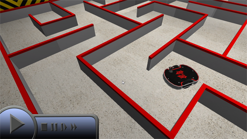 A robot navigating a maze in Live Mode
